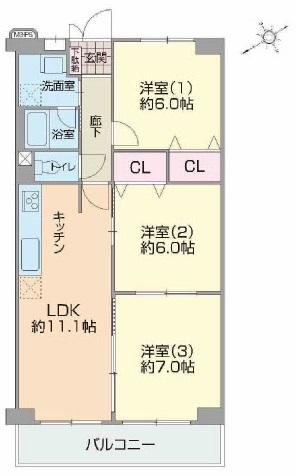 3LDK、価格1880万円、専有面積66㎡、バルコニー面積8.4㎡