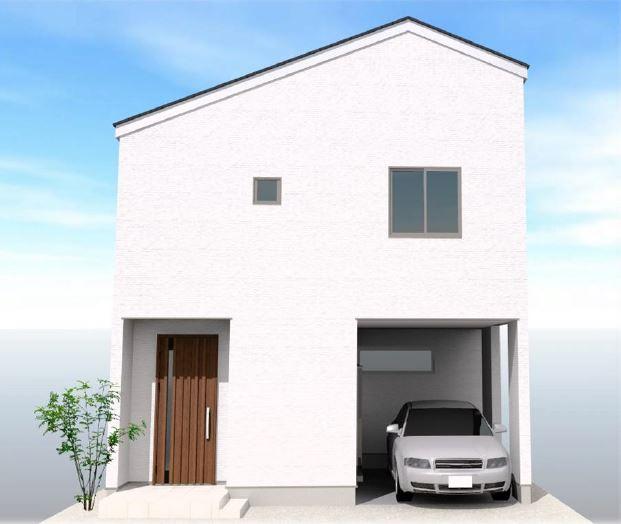 ◇Appearance◇シンプルで流行に左右されない外観デザイン。土地の特徴を最大限活かす建物プランをご提案しております。スリット窓を活用するなど、採光もトコトンこだわります!【2階外観パース】