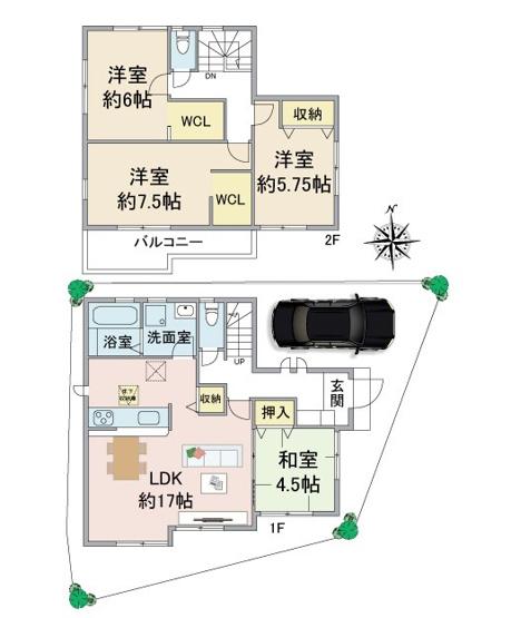 4LDK WICが洋室×2部屋 浴室1坪以上 LDK+和室で約21.5帖