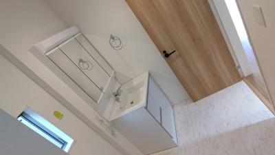 洗面所です。 新築戸建の事はマックバリュで住まい相談へお任せください。