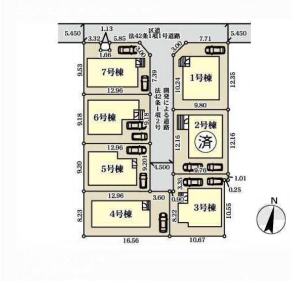 【区画図】練馬区大泉学園町7丁目 5,280万円 新築一戸建て【仲介手数料無料】