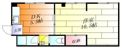 広い洋室が魅力的な1DK。