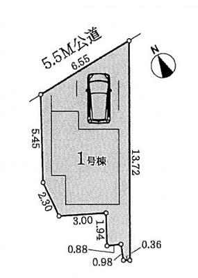 【区画図】名古屋市瑞穂区河岸町4丁目4−8【仲介手数料無料】新築一戸建て 1号棟
