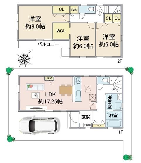 2階建3LDK LDK約17.25帖 主寝室約9帖 ウォークインクローゼット