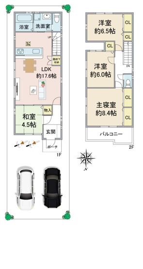LDK+和室で約22.1帖 全洋室約6帖以上 主寝室約8.4帖 ※現況と図面が異なる場合現況を優先します。