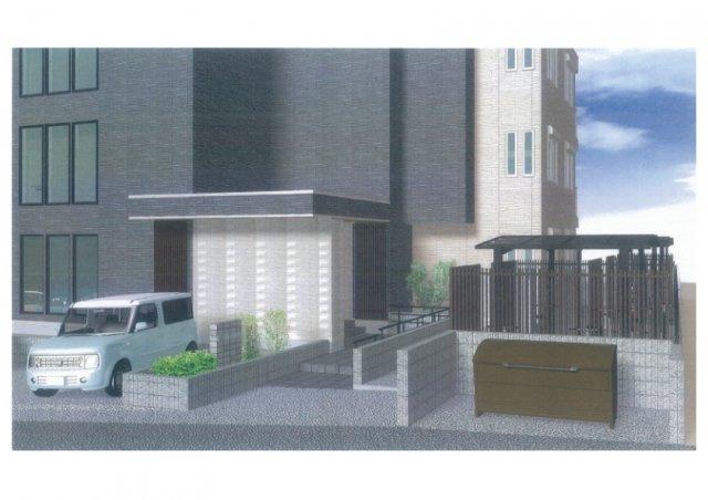 ※外観パース※敷地内に屋根付きバイク置き場を完備しています!バイクをお持ちの方にオススメです♪