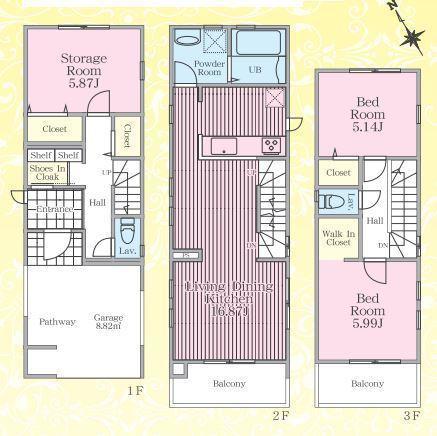 土地面積65.97平米 建物面積97.67平米  収納付きの使い勝手の良い間取りです!