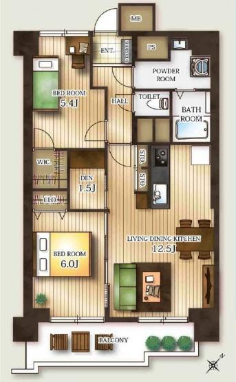 書斎スペース1.5帖付LDK12.5帖、ゆったりとした洗面脱衣所、日当たりの良い南東向きの3階部分のお部屋です。
