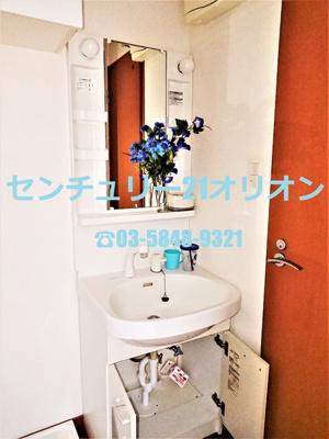 広くて清潔感のある照明付き独立洗面台