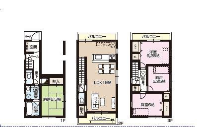 新築戸建て 4LDK 土地面積:70.06平米(公簿) 建物面積:116.47平米 北向き