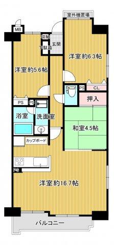 中古マンション 3LDK  専有面積:69.4平米(壁芯) バルコニー面積:6.46平米 南向き