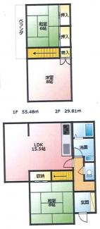 3LDK:1階:1部屋+LDK 2階:2部屋の間取り