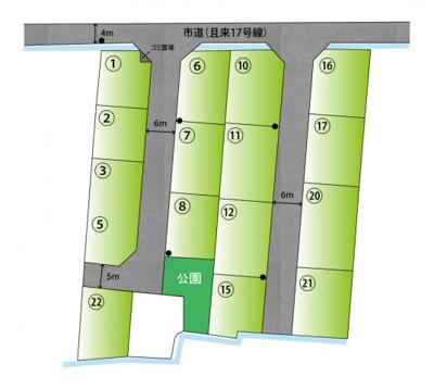 【区画図】【分譲地】ライフフィールド亀川中学校西NTⅡ ★全17区画 ★@14.8万円~ ★建築条件無し