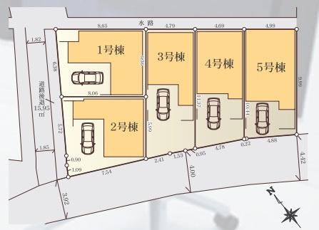 【区画図】稲田堤 新築全5棟