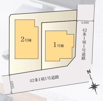 【区画図】菅仙谷2丁目 2階建て新築