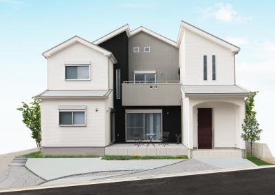 こんなテラスがあるお家も素敵ですね♪外観はとても大事!モダンな雰囲気のお家も人気です!当社施工例です!