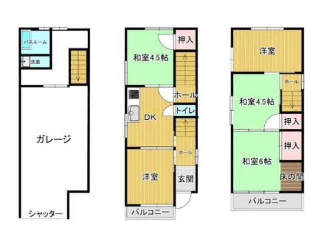 東向き☆3階建て【5DK+シャッターガレージ】