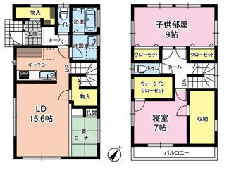 収納豊富で子供部屋を可変して3LDKSにもなり、将来に合わせた住まい方が可能です!