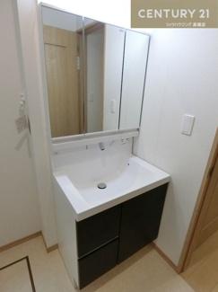 シャワー付きの三面鏡化粧台です。 収納もたくさん入りそうですよね。