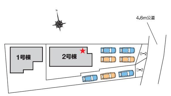1号棟 カースペース3台以上可能です。本日、建物内覧できます(^^)/住ムパルまでお電話下さい!