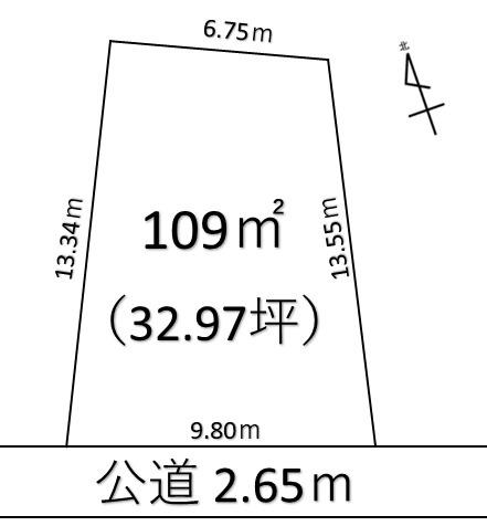 【土地図】深谷市西島 400万 土地