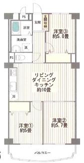 稲毛東映マンションB棟 周辺環境充実の3LDK間取りです