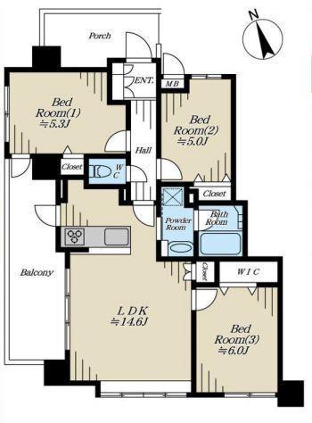 専有面積70.02平米 バルコニー面積11.29平米 角部屋のゆとりある3LDK! 各室収納付きの使い勝手の良い間取りです。