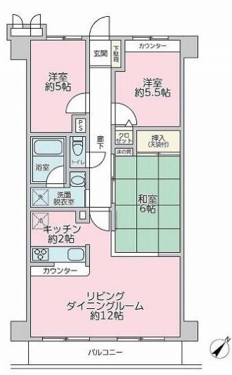 専有面積60.15平米 バルコニー面積6.35平米 南東向きで日当り良好な3LDK! 各室収納付きの使い勝手の良い間取りです。