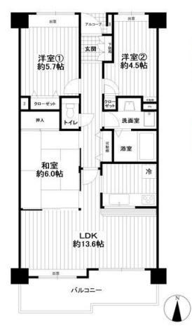 専有面積71.79平米 バルコニー面積9.45平米 南向き!陽当り良好の3LDK! 各室収納付きの使い勝手の良い間取りです。