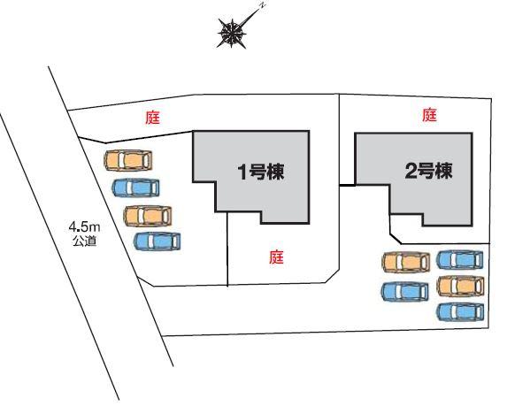 2号棟 カースペース5台以上可能です。本日、建物内覧できます(^^)/住ムパルまでお電話下さい!