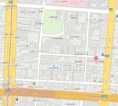 【地図】賃貸人気も高い谷六エリアの収益区分!!