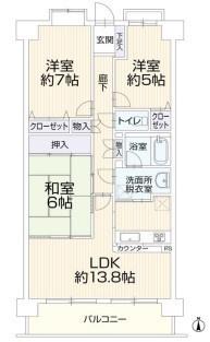 専有面積72.90平米 バルコニー面積9.00平米 陽当り良好の3LDK! 収納付きの使い勝手の良い間取りです。