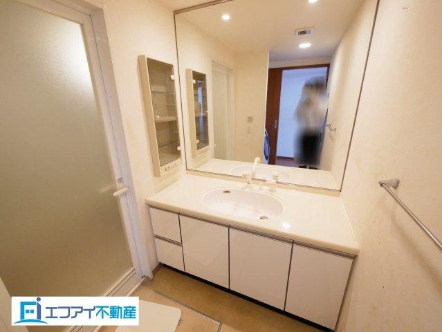 大きな鏡付きの洗面台です。足元と洗面横に収納スペースがあります。