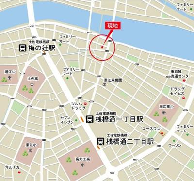 【地図】高知市役知町