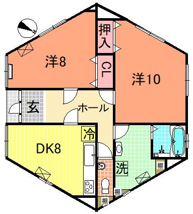 2DK 平屋建て六角形