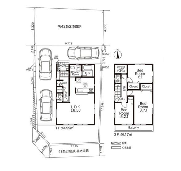 土地面積132.52平米 建物面積90.72平米 3LDK 収納付きの使い勝手の良い間取りです!