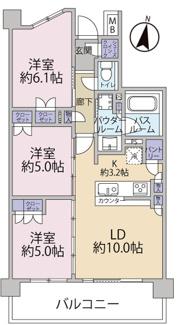 LDK:13.2畳、洋室6.1畳、洋室5.0畳、洋室5.0畳の3LDKです。