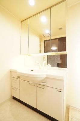 使い勝手の良い3面鏡に加え、 温水シャワーも搭載されております。 浴室にいなくても洗髪することができる優れものです。