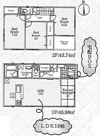 【2号棟】 土地面積:163.25㎡ 建物面積:90.72㎡