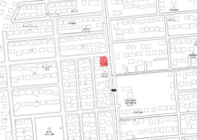 【地図】北見市緑ヶ丘3丁目 中古一戸建住宅
