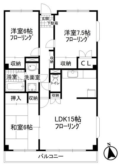 ファミリー向けの3LDK!リビングダイニングキッチンは広々15帖もあります☆なんと言っても角部屋・最上階なのが嬉しい♪