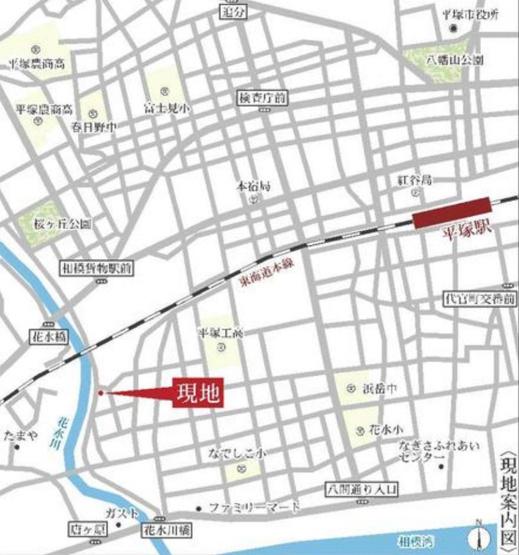 【地図】土地 平塚市撫子原 2区画
