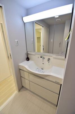 お掃除のし易いフチなし洗面ボウル。可動式シャワーヘッド等、使い易さを重要視した3面鏡付き独立洗面台
