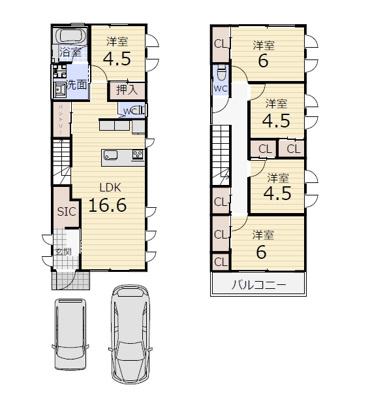 ☆建物面積 105.3㎡(1F:52.65㎡ 2F:52.65㎡ ) ☆木造2階建 ☆駐車2台可能