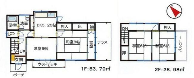 土地面積168.38平米、建物面積82.77平米~南東向き、日当たり、通風良好な4DKの間取り、隣地にも建物がそれ程多くないため、広さを感じることが出来る住居