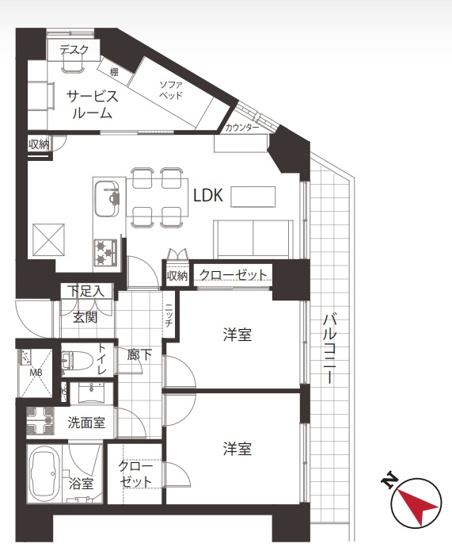 ラフィネ大崎:2SLDK新規内装デザイナーズリノベーション物件は住設備も充実したお部屋にはワイドバルコニーも付いております♪