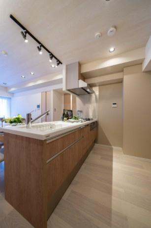 ラフィネ大崎:対面式システムキッチンは食洗機が付いた3口コンロ・浄水機能付き水栓です!