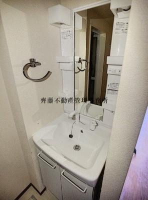 洗面用具もしっかり収納できそうな洗面台。横にはおしゃれなタオル掛け付き。
