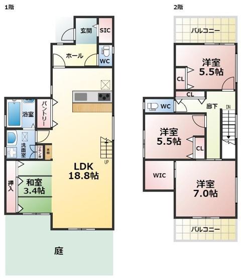 バルコニー2面・専用庭付きの3SLDK リビング階段は、一見の価値あり