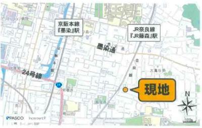 【地図】京都市 伏見区桃山町正宗 売土地